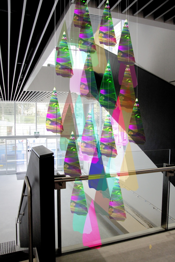 Nano science concept designs laura jade artist photonic petals is a suspended chandelier of butterfly scales created out of laser cut perspex that harness the photonic properties of dichroic film the aloadofball Choice Image